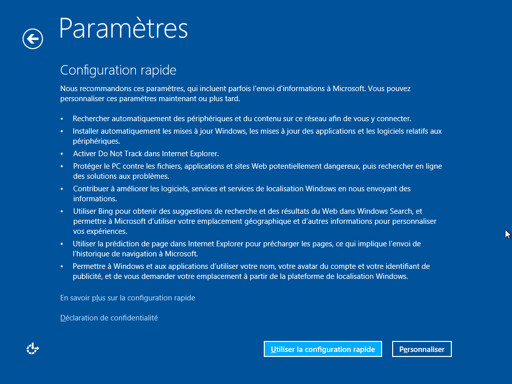 configuguration rapide windows 8.1